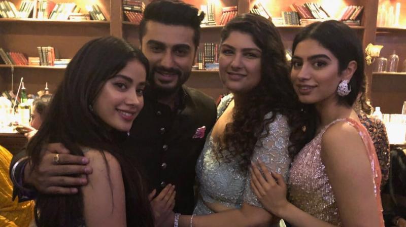Arjun Kapoor with his sisters. (Image: Twitter/@arjunk26)