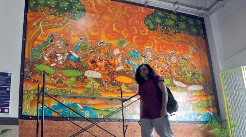 One of the mural painting displayed at  Edappally Metro station in Kochi. (Photo: SUNOJ NINAN MATHEW)