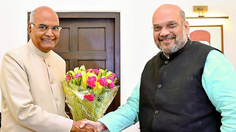 Bihar Governor Ram Nath Kovind meets BJP president Amit Shah in New Delhi on Monday. (Photo: PTI)