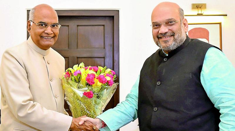 Bihar Governor Ram Nath Kovind meets BJP president Amit Shah in New Delhi on Monday. (Photo: PTI)