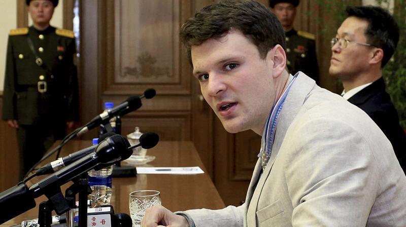 American student Otto Warmbier speaks as he is presented to reporters in Pyongyang, North Korea. (Photo: AP)