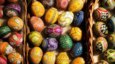 Beautiful, hand-painted Easter eggs present at the traditional Easter Market of Germany's Sorb minority in the village Neuwiese, near the city of Hoyerswerda in east Germany. (Photo: AP)