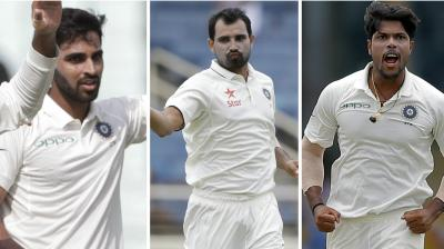 Mohammed Shami, Bhuvneshwar Kumar and Umesh Yadav have shared the spoils as India manage to keep themselves in hunt in the first Test against Sri Lanka at the Eden Gardens. (Photo: AP)