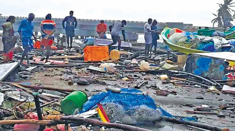 Boats of fishermen destroyed in Nagapattinam during Gaja cyclone. (Image DC)