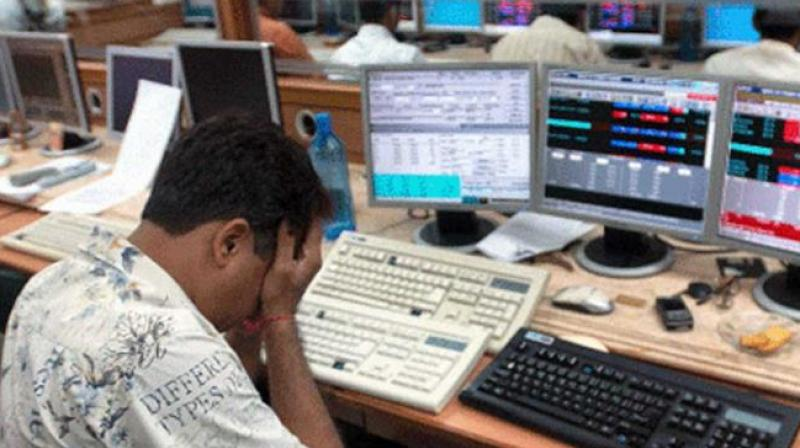 The NSE Nifty settled at 10,454.95, down 121.90 points, or 1.15 per cent. It moved between 10,398.20 and 10,480.20 in day trade. (Photo: PTI)