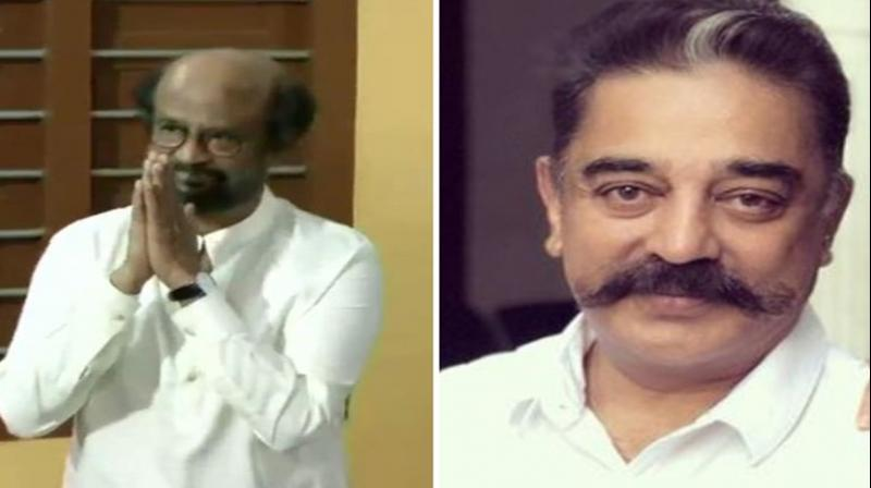 Rajinikanth and Kamal Haasan cast votes in Chennai. (Photo: ANI)