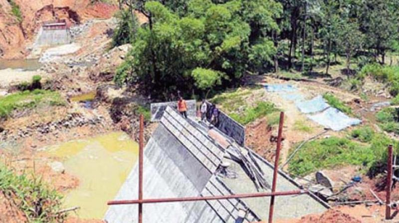 A file photo of work on the Yettinahole project in the Western Ghats near Sakleshpur in Hassan district.