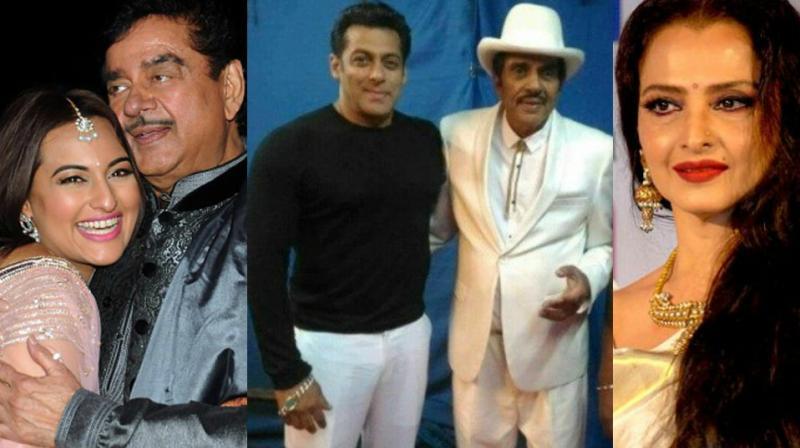 Sonakshi and Shatrughan Sinha, Salman Khan and Dharmendra and Rekha.