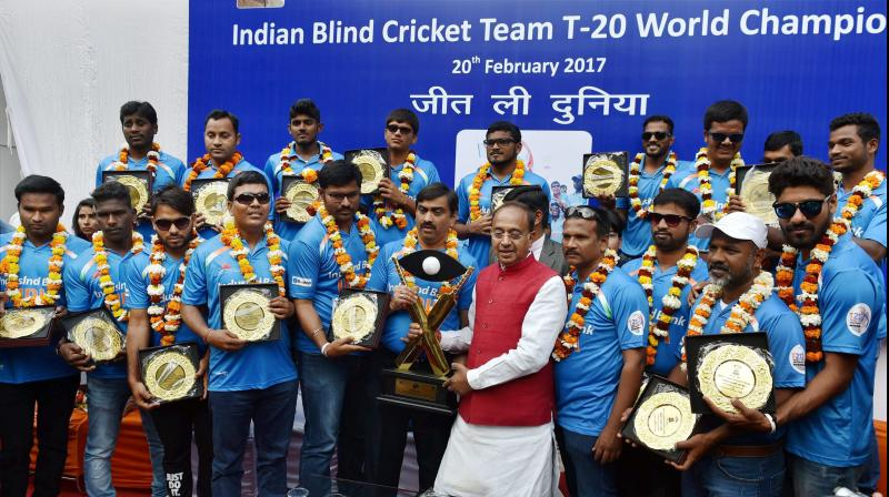 The victorious Indian blind cricket team felicitated by Sports Minister Vijay Goel. (Photo: PTI)