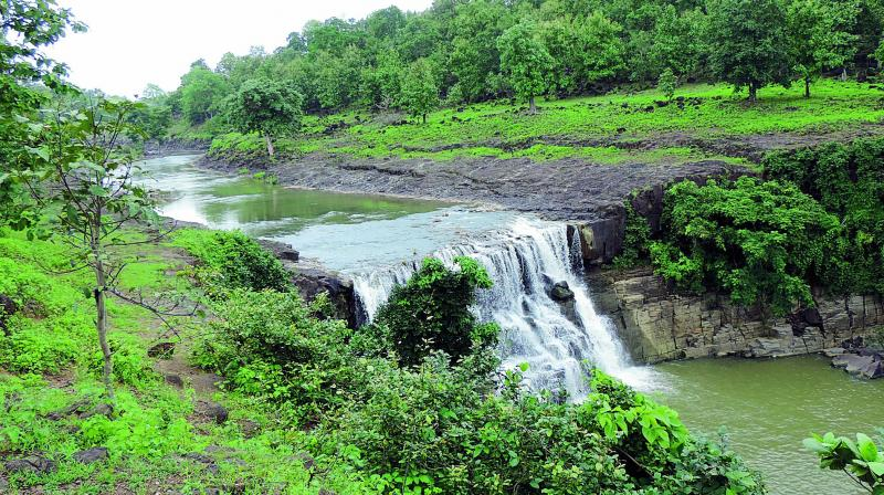 View of the Mitte waterfall near Pittaguda village in Lingapur  mandal in Kumarambheem  Asifabad district.