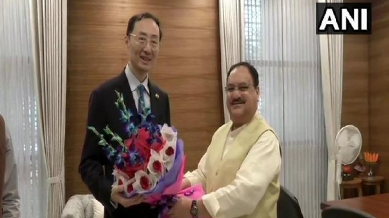 Chinese Ambassador to India, Sun Weidong, met BJP working president JP Nadda in New Delhi. (Photo: ANI)