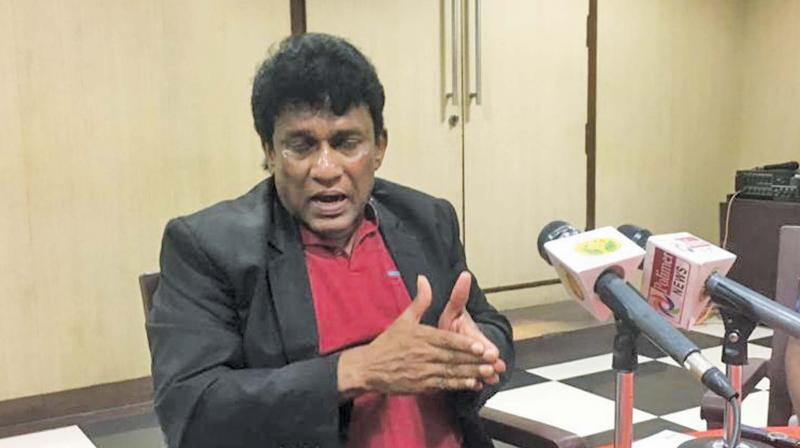 Mano Ganesan, Sri Lankan minister, who was in the city on Monday, addresses  media persons.