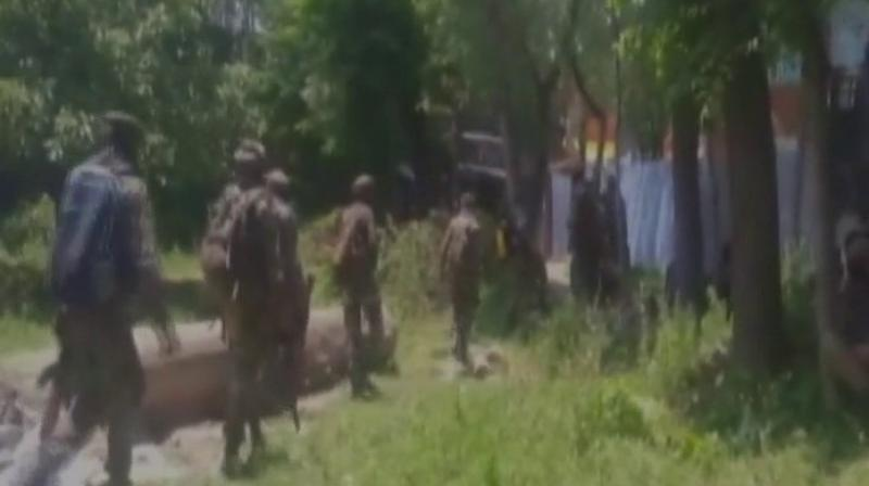 The gunbattle began on Monday morning after the security forces launched a search operation based on a specific tip-off about the militants' presence in Pulwama. (Photo: ANI/Twitter)
