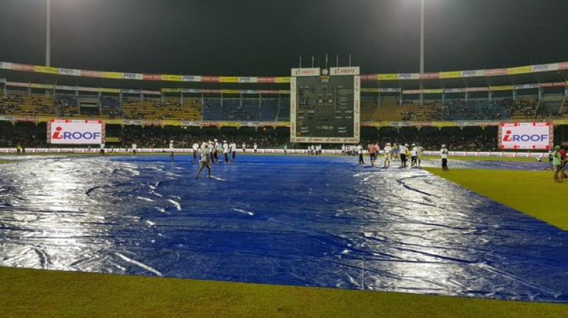 Wet outfield delayed the start of the 2018 Nidahas Trophy encounter between Sri Lanka and India on Monday. (Photo: Twitter / BCCI)