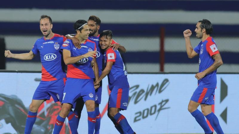 The Blues, who were dominant throughout the game at the Sree Kanteerava Stadium, were made to work hard by a resilient NorthEast United who were finally outdone by a 72nd-minute goal from Miku. (Photo: ISL Media)