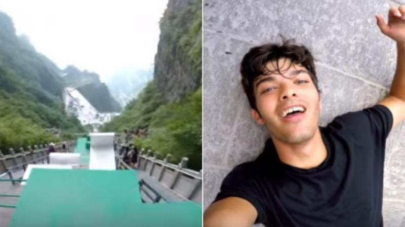 The exciting video was published by Calen on Youtube and has got over 1.5 lakh views as people are taken through the dizzy jump with a camera fitted on him. (Photo: Youtube)