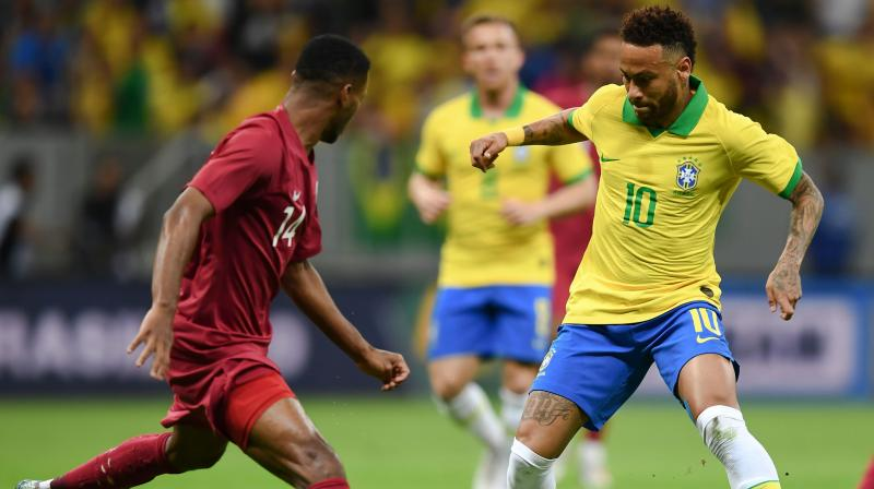 A distraught-looking Neymar was seen covering his face with his hands as he sat on the bench after hobbling from the field in the 20th minute at Brasilia's Mane Garrincha Stadium.