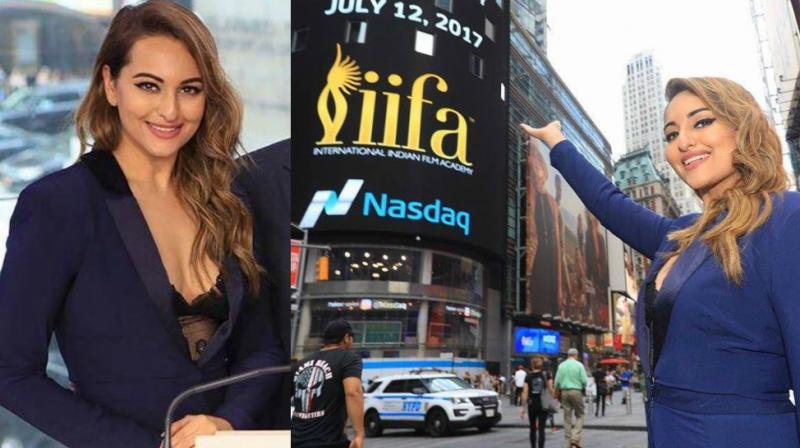 Sonaksh Sinha launched the upcoming IIFA Awards 2017 at the Nasdaq stock exchange in New York on Wednesday. (Photo: Viral Bhayani/ Twitter)