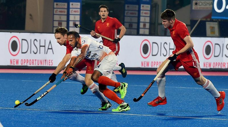 Ward (43rd, 57th minutes) struck two field goals for England after David Goodfield gave them the lead in the 25th minute.(Photo: PTI)