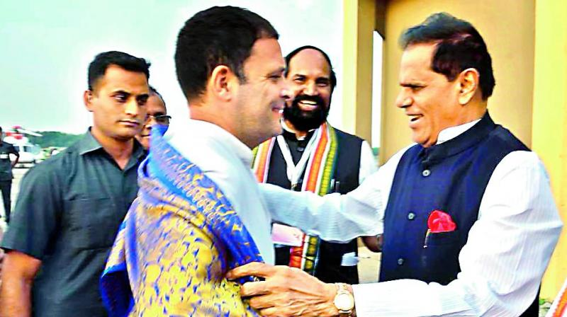 Congress president Rahul Gandhi with MP Dr T. Subbarami Reddy in Hyderabad on Saturday.