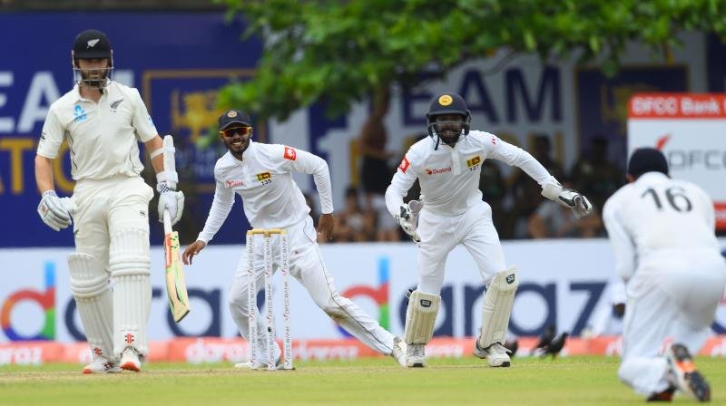 Akila Dananjaya, who was bowling with a remodelled action after his mystery spin was reported to be suspect last year, returned figures of 3-28 in 11.2 overs. Kane Williamson walks back after being dismissed by Akila Dananjaya. (Photo:AFP)