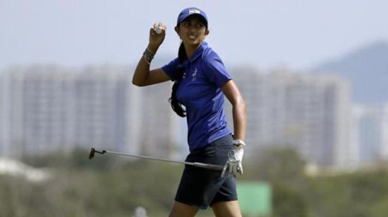 Aditi held her nerve to secure her 13th birdie of the tournament on the par-5 18th to make history. (Photo: AP)