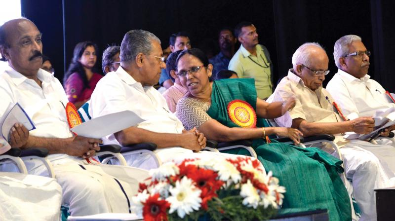 Health minister K.K. Shylaja shares a word with Chief Minister Pinarayi Vijayan during the inauguration of epidemics awareness programme on Monday in Thiruvananthapuram