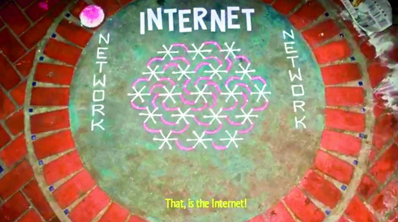 A lawyer tried to explain Internet with dots of Rangoli as landline phones or nodes, and lines joining the dots becoming connections.