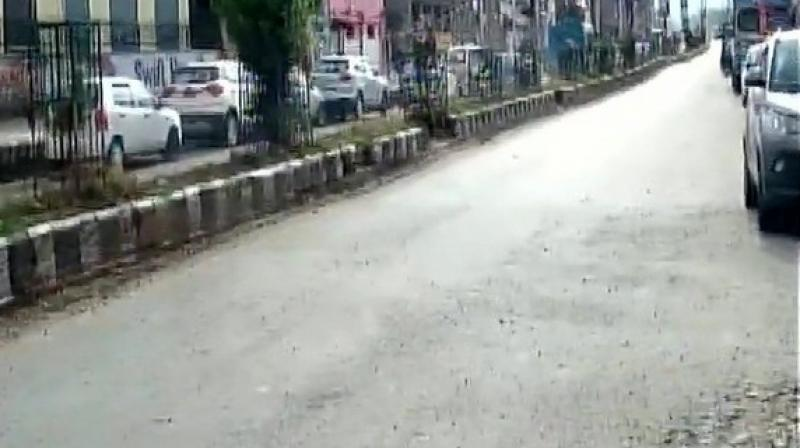 They said at least two terrorists on a motorcycle attacked a patrol party of the CRPF on the busy K P Road in Anantnag with automatic rifles. (Photo: ANI)