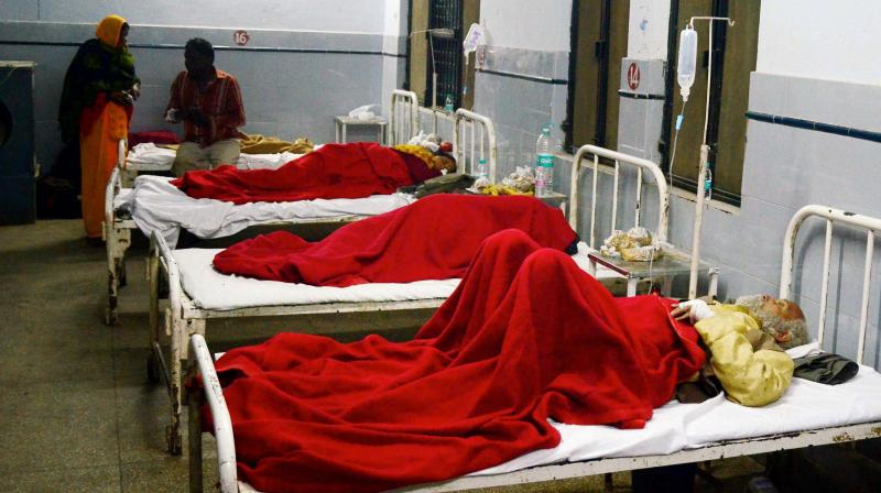 People injured in Patna-Indore Express train accident being treated at a hospital in Kanpur Dehat on Sunday. (Photo: PTI)