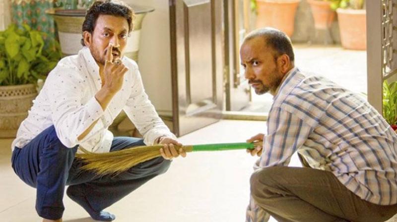 A still from Deepak Dobriyal's last film 'Hindi Medium'. Dobriyal is here seen with Irrfan Khan.