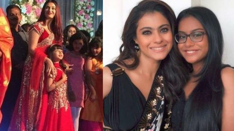 Aishwarya Rai Bachchan, Aaradhya, Kajol and daughter Nysa.