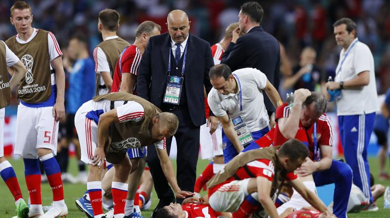 """Luck was against us,"" Russia's coach Stanislav Cherchesov said. ""My guys feel like conscript soldiers whose term of service was over just when they were preparing to go into battle."" (Photo: AP)"