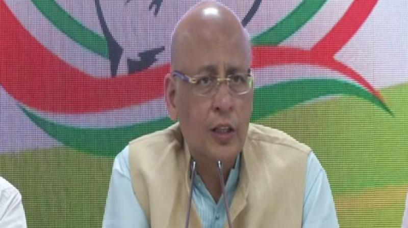 Singhvi said, 'We are not surprised by the violations of the MCC by BJP leaders. But we cannot understand why the election policeman is silent on this matter.' (Photo: ANI)