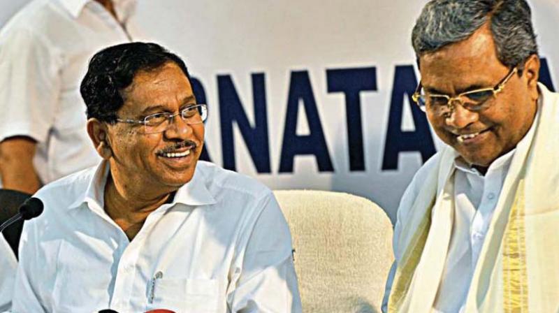 KPCC President Dr G. Parameshwar with Chief Minister Siddaramaiah. (Photo: DC)