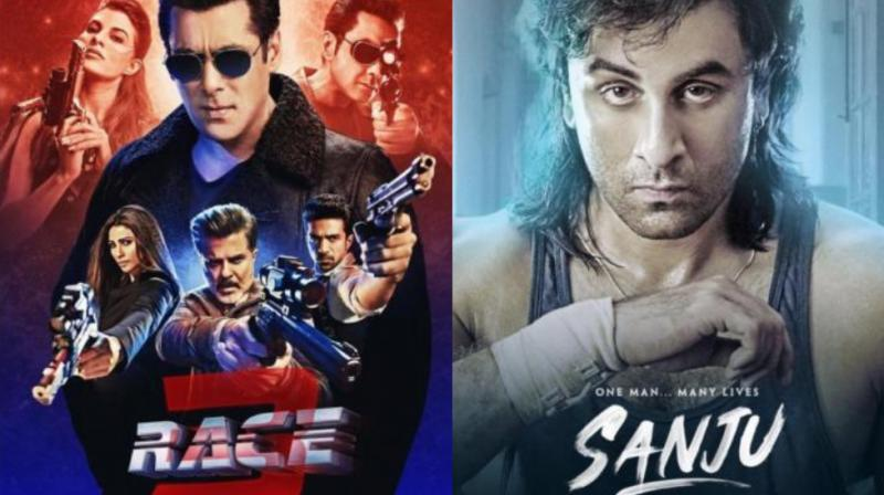 Posters of 'Race 3' and 'Sanju'.