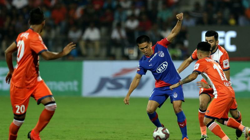 Not only did Chhetri and co clinch their msiden ISL trophy, but also they completed a triple against Goa in a single season, having beaten them in the league stage twice. (Photo: ISL Media)