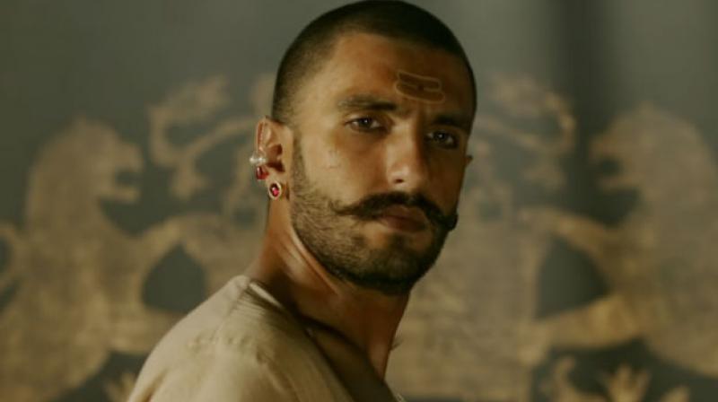 Ranveer Singh in a still from 'Bajirao Mastani'.