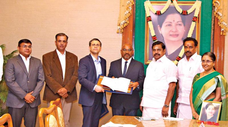 An MoU was signed between the transport department and C-40 England in the presence of Chief Minister Edappadi K. Palaniswami at the secretariat for  introducing electric buses in Tamil Nadu.— DC