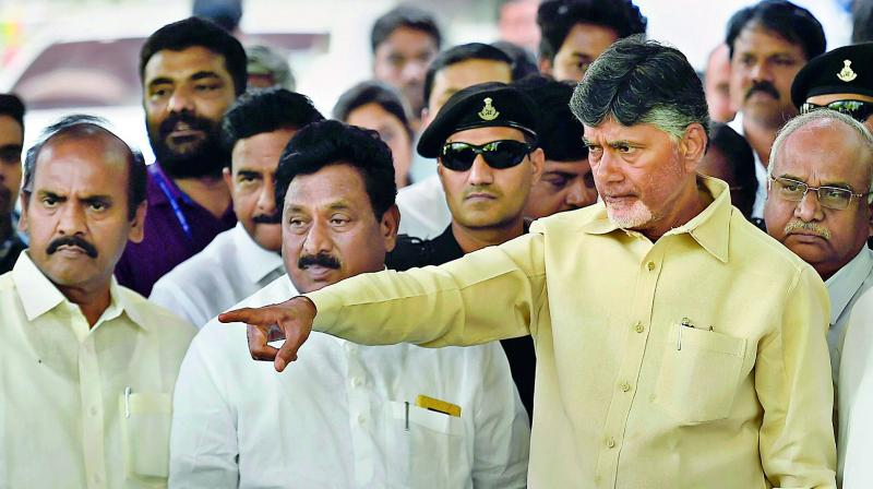 Andhra Pradesh CM N. Chandrababu Naidu leaves after meeting with Election Commission of India in New Delhi on Saturday.  (PTI)