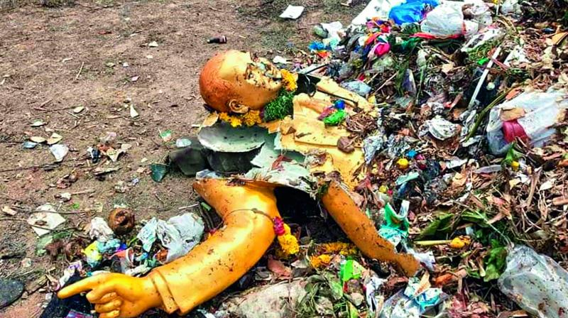 The dumped statue of Dr B.R. Ambedkar at the Jawaharnagar dumping yard by the GHMC authorities.