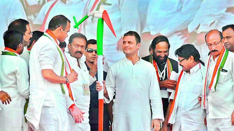 Congress president Rahul Gandhi at a public meeting in Kamareddy district headquarters on Saturday.