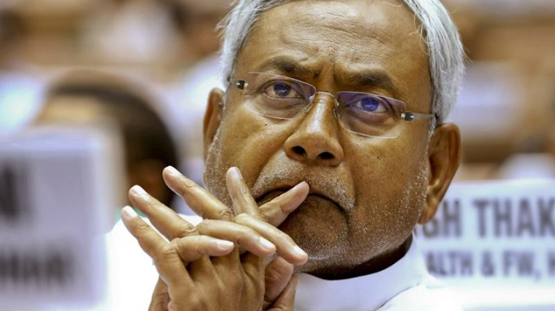The incident took place when Nitish Kumar was seated on the podium during 'Chhatra Samagam' organised by the JD(U) at Bapu Sabhagar auditorium on occasion of birth anniversary of Jayaprakash Narayan. (Photo: File | AP)