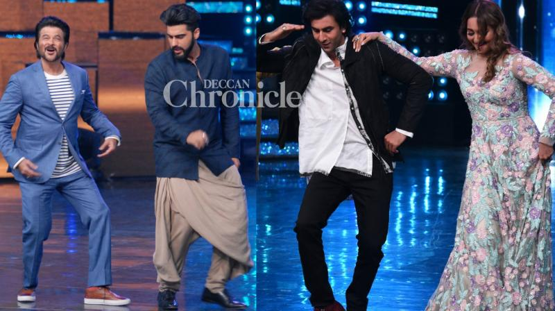 The teams of 'Jagga Jasoos' and 'Mubarakan' shot for separate episodes for the promotions of their films on the reality show 'Nach Baliye' in Mumbai on Thursday. (Photo: Viral Bhayani)