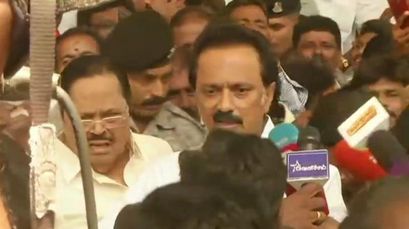 The meeting, the first one to be headed by MK Stalin following his August 28 elevation as party chief, blamed the Centre on issues ranging from demonetisation, Rafale deal, NEET and the prevailing economic situation. (Photo: ANI | Twitter)