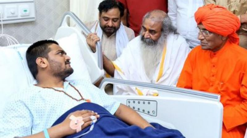 Hardik Patel was first shifted to the Sola Civil Hospital by his supporters Friday as his health deteriorated, and later to the privately-run SGVP Holistic Hospital. (Photo: Facebook   Hardik Patel)