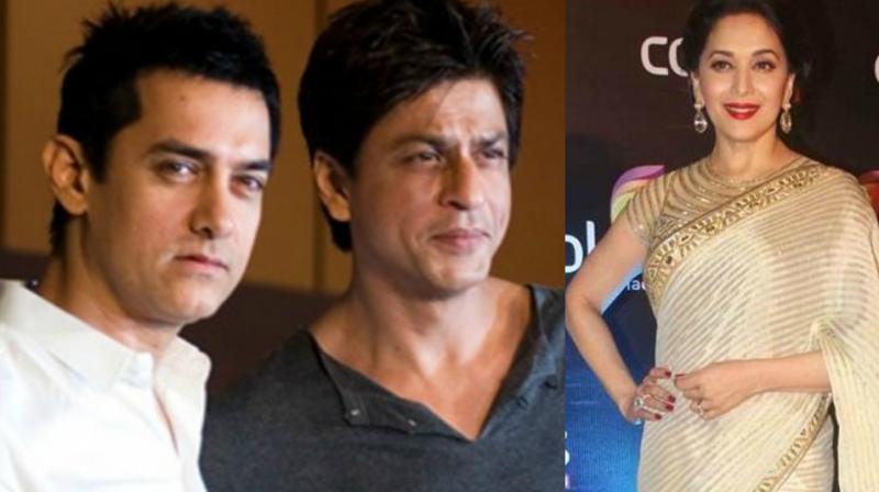 Shah Rukh Khan, Aamir Khan and Madhuri Dixit