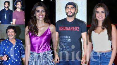 On Tuesday, Arjun Kapoor organised a special screening of his next, India's Most Wanted in Mumbai. Bollywood celebrities like Kriti Sanon, Tara Sutaria, Ashutosh Gowariker, Siddhant Chaturvedi, Tahir Raj Bhasin and others attended the screening. (Photos: Viral Bhayani)