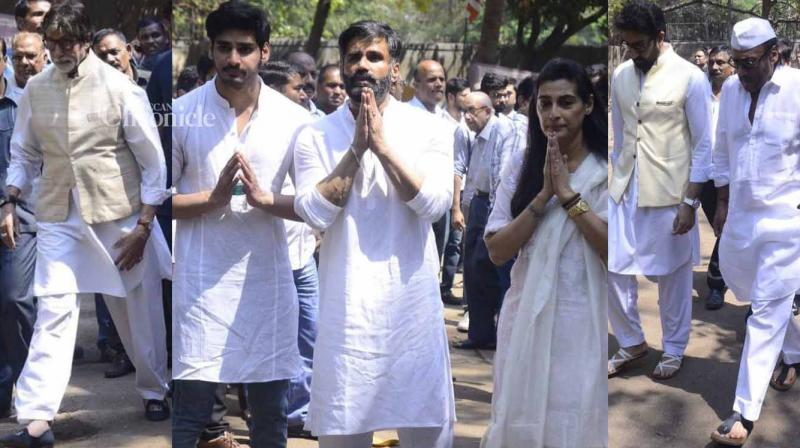 Several Bollywood stars were present to convey their condolences to Suniel Shetty's family at his father Veerappa Shetty's funeral held in Mumbai on Thursday. (Photo: Viral Bhayani)