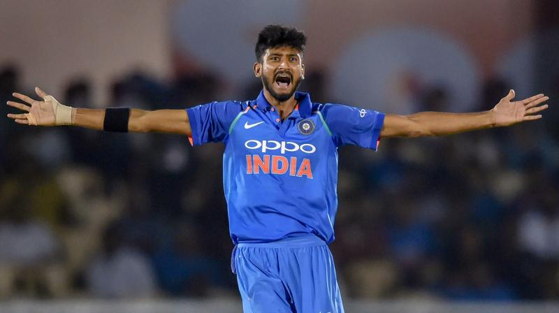 """""""I had more responsibility today as I was bowling with the new ball. I enjoy the responsibility a lot. When I was young, I always dreamt of playing for India and now I have achieved that. If I feel pressure now I can't perform to my potential,"""" Khaleel Ahmed said. (Photo: PTI)"""